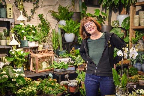Anne Williamsen trives blant de grønne plantene. - Jeg har drevet med dette siden 1985-86, sier hun.