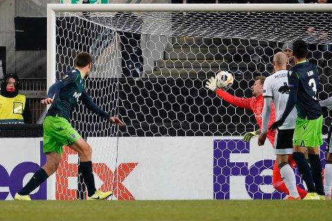 0-1 av Sporting CPs  Sebastián Coates i Europa League (4. runde) mellom Rosenborg og Sporting CP på Lerkendal Stadion.