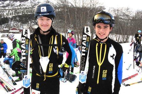 JUNIORER: Edvard Sætran Solli fra Gjemnes og Eirik Kårvatn fra Surnadal gikk bra opp de bratte liene under lørdagens norgescup i randonee på Kårvatn i Todalen.