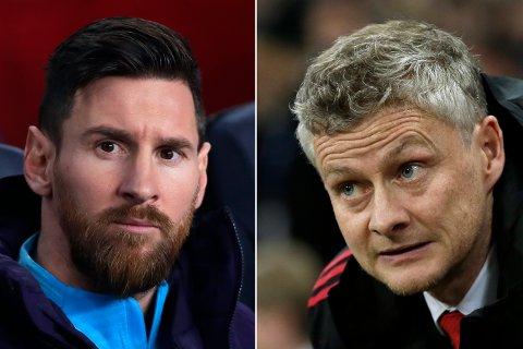 Ole Gunnar Solskjær og Manchester United møter Barcelona med Lionel Messi i Champions League-fotballen onsdag.