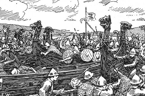 Denne tegningen beskriver slaget ved Solskjel.