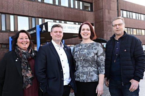- På vårt møte i stortingsgruppa på onsdag i neste uke må vi ta en beslutning på hvilken løsning vi går for når det gjelder framtidig fødetilbud i Kristiansund, sier Åshild Bruun-Gundersen som er fraksjonsleder for Fremskrittspartiet i helse- og omsorgskomiteen. Her sammen med Ann Mari Fiksdal (fra venstre), Jan Steinar Engeli Johansen og Robert Norvik.