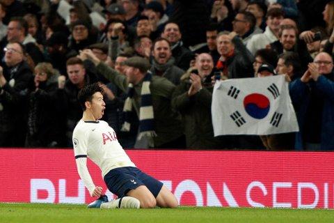 Tottenhams Heung-min Son feirer scoring mot Manchester City i Premier League-møtet mellom lagene sist helg. Kampen ble vist på TV 2 Sport Premium, men fra 2022 overtar Nent rettighetene til den engelske toppdivisjonen.