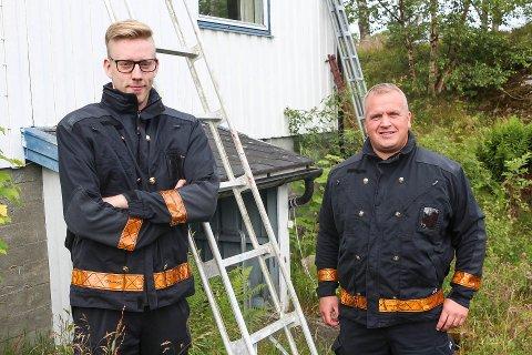 F.v: Johan Phillips Pettersen og Harald Elgsaas oppfordrer huseiere til å montere godkjent takstige.