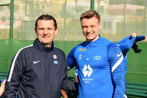 Ole Erik Stavrum (til venstre) og Stian Rode Gregersen gleder seg til Moldes kamp mot Hoffenheim torsdag. Foto: Per Lianes, Molde FK