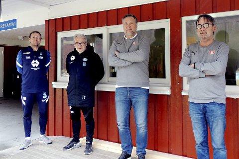 Samarbeider: Thomas Mork (fra venstre), Jarl Torske og Molde FK skal samarbeide videre med Jørund Svensli og Torbjørn Torske i Sunndal IL Fotball. Foto: Aura Avis