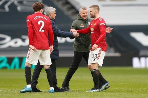 Ole Gunnar Solskjær var i betydelig bedre humør enn José Mourinho etter søndagens kamp.