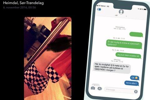 Bildet viser Emilie, angivelig inne på Afrodisia 6. november 2016. Hun har selv tatt det på Snapchat. På siden deler av sms-utveksling med Club4-sjefen, som Nettavisen og Gatemagasinet Sorgenfri publiserte 10. januar 2020.