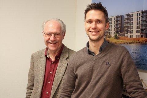 FAR OG SØNN: Ole Johan Olsen og Andreas Hojem Olsen synes det er utfordrende, men mest positivt å drive firmaet Format Eiendom sammen.