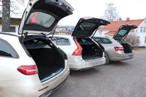 Romslige: Stasjonsvognene i testen laster inntil 1.526 (Volvo), 1.820 (Mercedes) og 1.950 liter (Skoda) med nedfelt baksete.