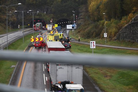 FØLGER IKKE GODT NOK MED: I to ulykker i Hanekleivtunnelen i fjor er uoppmerksomhet oppgitt som årsak.