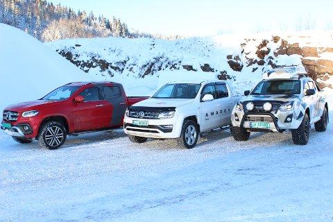 GRUPPETEST AV PICKUPER: Vi prøvekjørte nye Mercedes X-klasse, Volkswagen Amarok og Isuzu D-Max i vinterlige omgivelser i Lågendalen.