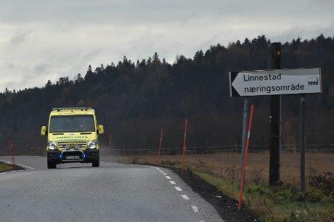ARBEISULYKKE: Ulykken skjedde hos i en bedrift på Linnestad næringsområde.