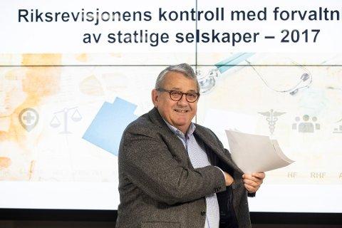 Riksrevisor Per-Kristian Foss presenterer dokument 3:2 om Riksrevisjonens kontroll med forvaltningen av statlige selskaper i 2017. Helse sørøst får kraftig kritikk for manglende kostnadskontroll.