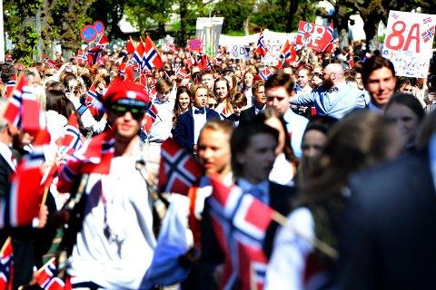 DROPP PARAPLYEN: Meteorologene lover tørr 17. mai over hele Norge.