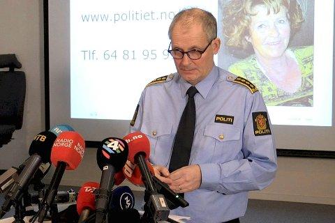 Politiinspektør Tommy Brøske i Øst politidistrikt ber innstendig publikum om flere tips etter den antatte bortføringen av Anne-Elisabeth Hagen 31. oktober i fjor. Foto: Fredrik Hagen / NTB scanpix