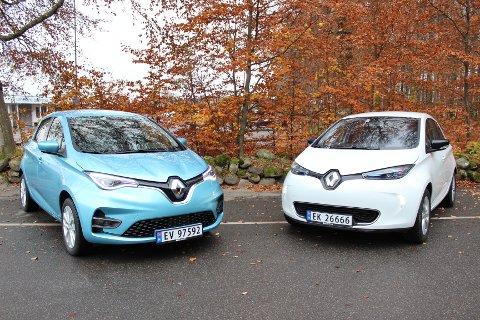 VIDEREFØRT GRUNNDESIGN: Ikke lett å se forskjellen på gamle (t.h.) og nye Renault Zoe – det er nemlig under skallet det har skjedd mest med den modellen.