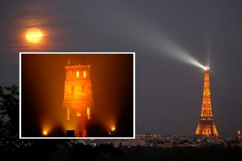 ORANSJE: Over hele verden skal viktige bygninger fargelegges oransje de neste tre ukene. Her representert ved Slottsfjellstårnet og Eiffeltårnet.
