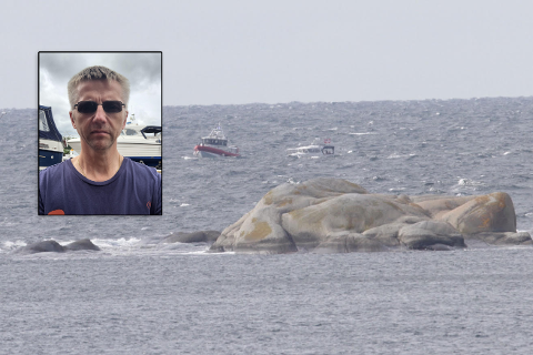 DRAMATISK: Jan Roger Standal og båten hans måtte reddes i land mandag formiddag.