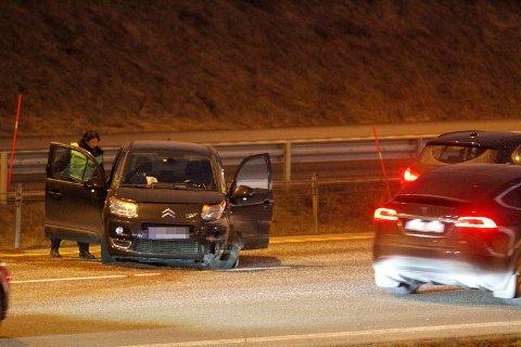 KRASJET OG SNURRET RUNDT: Bilen fikk såpass store skader at den måtte hentes av bilberging etter ulykken.
