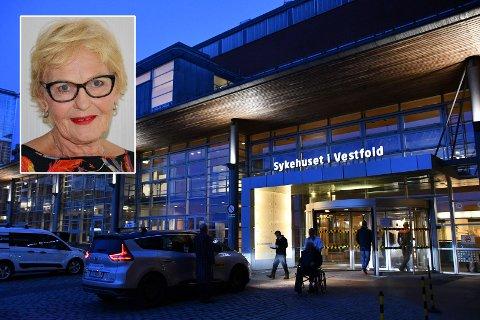 VIL VEKKE VESTFOLDINGENE: Marit Haukom slår alarm, hun er redd for framtiden til Sykehuset i Vestfold. – Det er vi som rammes.