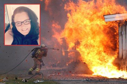 INNSAMLING: Maria Fjeldhaug fra Tønsberg samler inn penger til de som mistet alt i brannen på Barkåker.