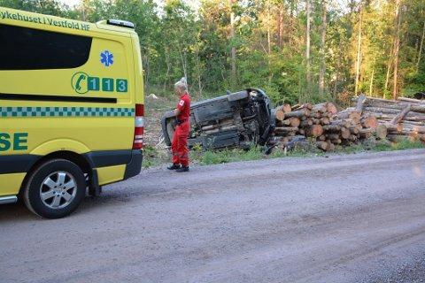 UTFORKJØRING: Ulykken har skjedd like etter en sving.