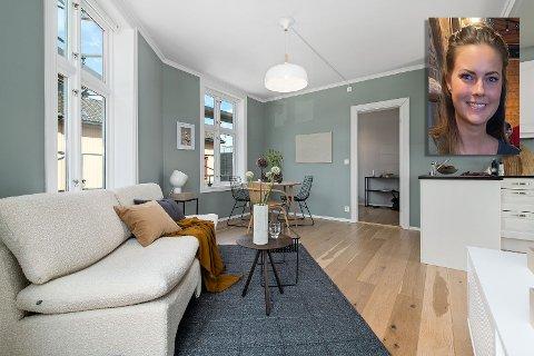 GLAD: Åse Marie Dehli (innfelt) er glad for at salget av leiligheten gikk raskt.