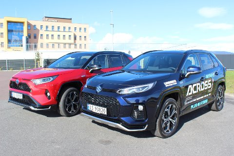 HYBRID-TVILLINGER: Den nye ladeutgaven av Toyota RAV4 og Suzuki Across er identiske biler. Firehjulstrekk er standard.