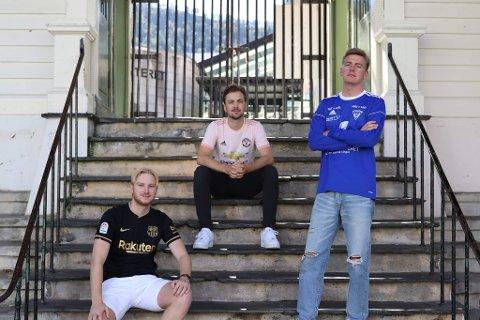 FANTASYKOLLEKTIVET: Nå starter disse tre guttene podkast om fotball og Fantasy Premier League. Fra venstre: Anders Grytnes (20), Ole Moen (22) og Sivert Berg (22).