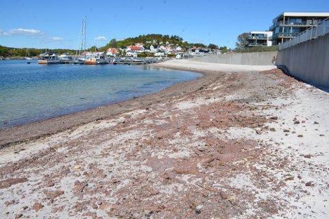 TYNT MED SAND: Steiner og enkelte metallrester fra industrien er dominerende på Jarlsøstranda, særlig på den sydlige delen.