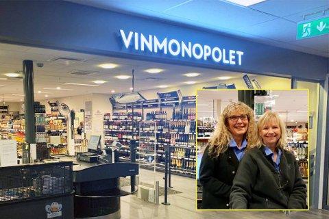 ROLIGERE: Fredag var en roligere dag enn vanlig hos Vinmonopolet, forteller butikksjef Ann Mari Gulbrandsen. Her sammen med kollega Annette Øhrn.