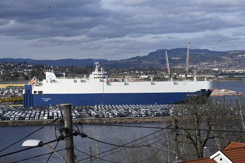 HAVARI: Dette er skipet som fikk motorproblemer utenfor Færder. Her i Drammen havn.