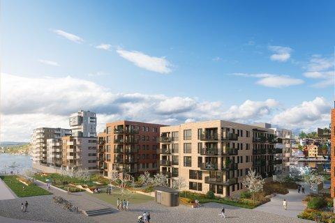 SJØPARKEN: De to blokkene rett fram er Sjøparken, og vil huse 59 leiligheter. Tre blokkene til venstre er Beddingen.