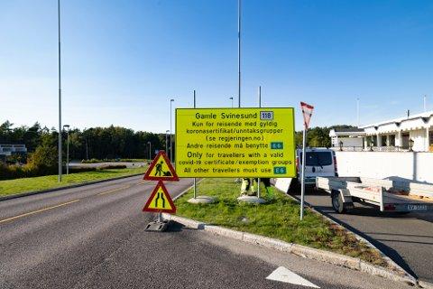 Tidligere måtte man ha gyldig koronasertifikat eller unntak for å reise over grensen ved Svinesund.