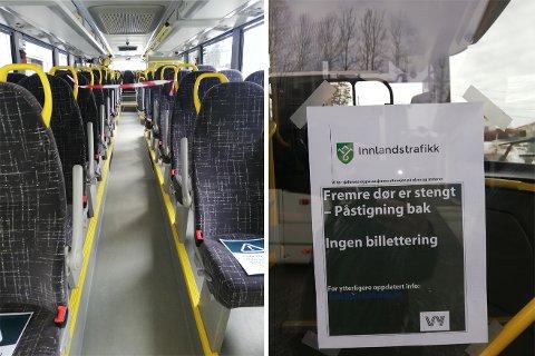 TILTAK: Busspassasjerer får ikke lenger gå på bussen foran, og det er satt opp sperringer slik at passasjerene ikke kommer i kontakt med sjåføren.