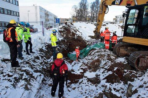 FANT LEVNINGER: Her ble levningene funnet i forbindelse med gravearbeid i forbindelse med utbyggingen av Coop Extra på Elverhøy.