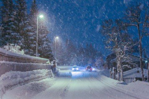 SNØ: I går lavet det igjen ned i Tromsø.