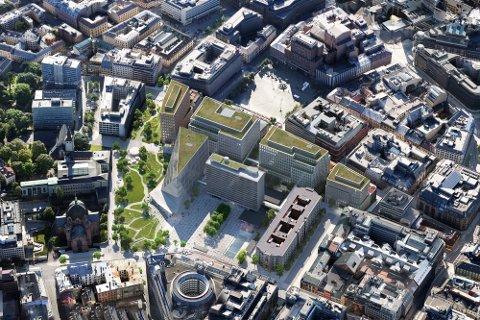 NYTT REGJERINGSKVARTAL: Midt i Oslo sentrum skal det nå investeres titalls milliarder kroner. Bildet er et oversiktsbilde i fugleperspektiv av det nye regjeringskvartalet. Alt skal stå ferdig i 2029. Foto: Statsbygg/Team Urbis / NTB