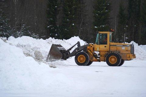 IKKE GODKJENT DEPONI: Snø Steinkjer kommune har fraktet bort fra sentrum har blitt kjørt til det kommunen kaller et midlertidig deponi i Tranamarka. Dette til tross for at det finnes et godkjent deponi i kommunen. Bildet er tatt 19. februar.