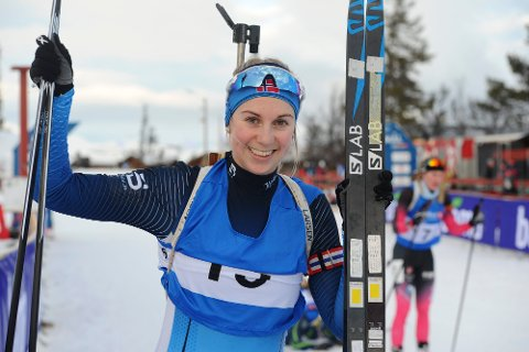 SEIER OG 3. PLASS: Kjersti Kvistad Dengerud, Steinkjer Skiklubb, kan juble for seier på normaldistansen og 3. plass på sprinten i helgas Lerøy-renn i skiskyting på Lygna skisenter. Bildet er tatt ved en tidligere anledning.