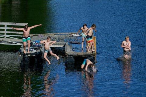 JUMPET UTI: Aslak Rones Pettersen (11), Ola Wærnes Dammen (11), Eirik Kjesbu (13), Andreas Bragstad Overrein (12), Amund Kjesbu (11) og Truls Rones Pettersen (13) kjølte seg ned i elva ved Støa i Ogndal onsdag kveld.