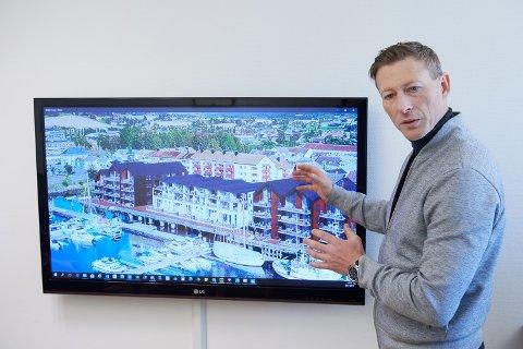 ILLUSTRASJON: Ikke hundre prosent riktig i alle detaljer, men denne fotomontasjen gir et bilde av hvordan Sjøgata 23 blir når hele prosjektet er fullført, opplyser daglig leder Brynjar Farstad i Stiklestad Eiendom AS.
