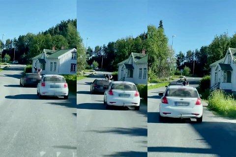 KLATRET UT: Stillbilder hentet ut fra videoen viser hvordan de to guttene klatrer ut av bilvinduene og opp på tak mens bilen kjører.