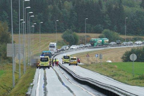 LANGE KØER: Det ble full stans i nordgående retning på E6 sør for Mule på grunn av ulykken. En snarrådig sjåfør tok ansvar ved Magneten, og sørget for å dirigere trafikken bort fra E6.