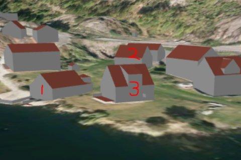 Påillustrasjonen ses båthuset (nr 1), en bolig som ble oppført i 1988, dvs etter at båtbua ble oppført (nr 3), og klagerens hus (nr 2). Figuren er hentet fra kommunens sakspapirer.