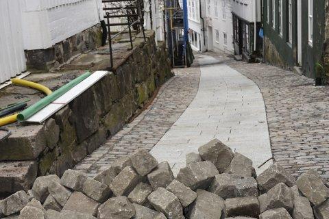 Ny gate: Det jobbes for fullt med å bli ferdig.