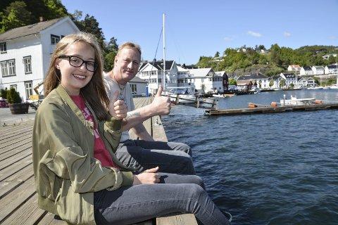 Kjempefornøyde: Både Tomine Støle Tegdan (13) og pappa Espen Tegdan gleder seg til Madcon-konserten 8. juli. De takker både TRK og kommunestyret som har gjort dette mulig. foto: M. drivdal