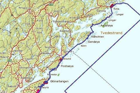 Verneområdet: Området innenfor den blå linjen omfattes av nasjonalparken. Her blir det vannscooterforbud.