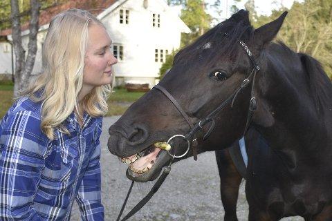 En klem: Marie Stenberg og hesten Baltazhar er gode venner. Hun har vært med og trene ham i halvannet år. Foto: Anne Dehli